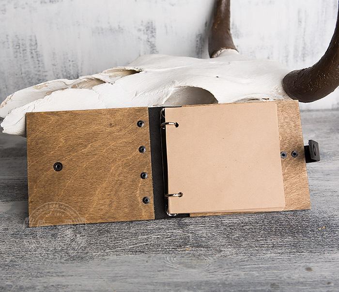 BC127-2 Деревянный блокнот ручной работы с крафт бумагой фото 04
