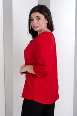 Ліза. Стильна блузка великих розмірів. Червоний