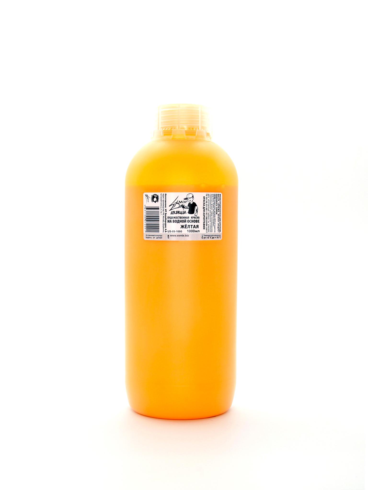 Краска Exmix Краска укрывистая Exmix 09 Желтая (теплая) 1000 мл US-09-1000.jpg