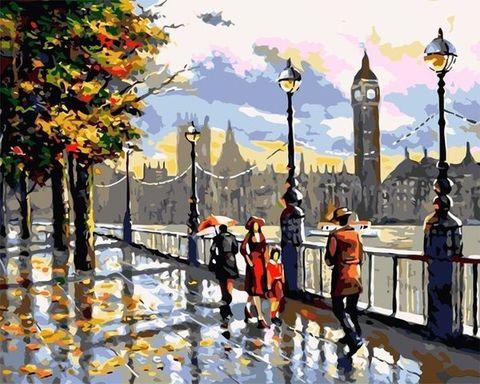 Картина раскраска по номерам 40x50 Осенняя улица Лондона