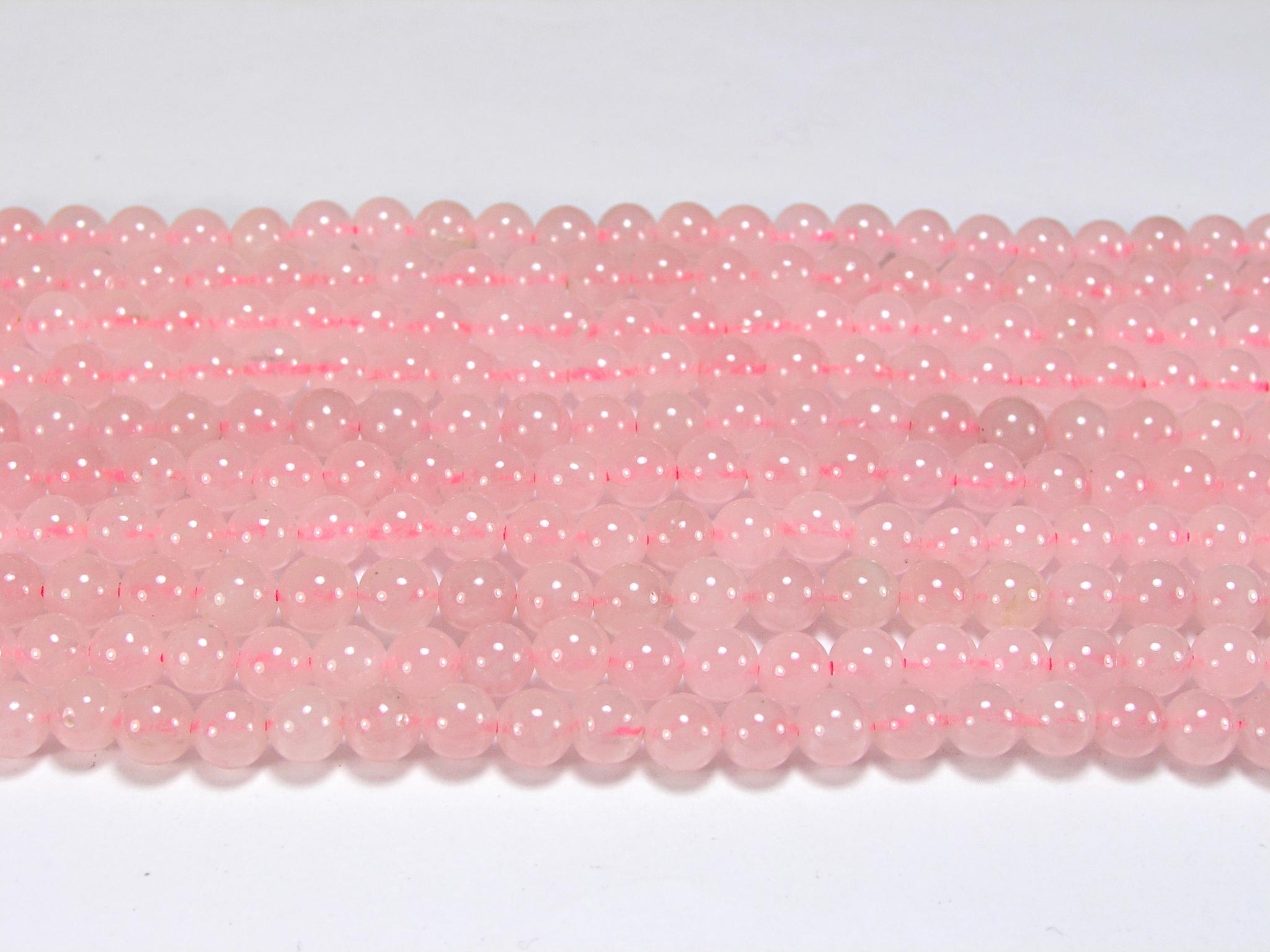Нити бусин из кварца розового, шар гладкий 6мм (оптом)