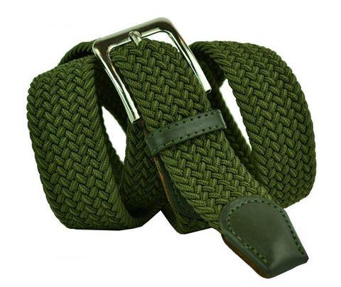 Ремень-резинка мужской текстильный зелёный 40мм 40Rezinka-001