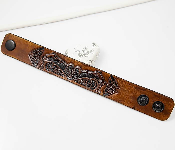 BL479 Мужской кельтский браслет «Птицы» ручной работы фото 02