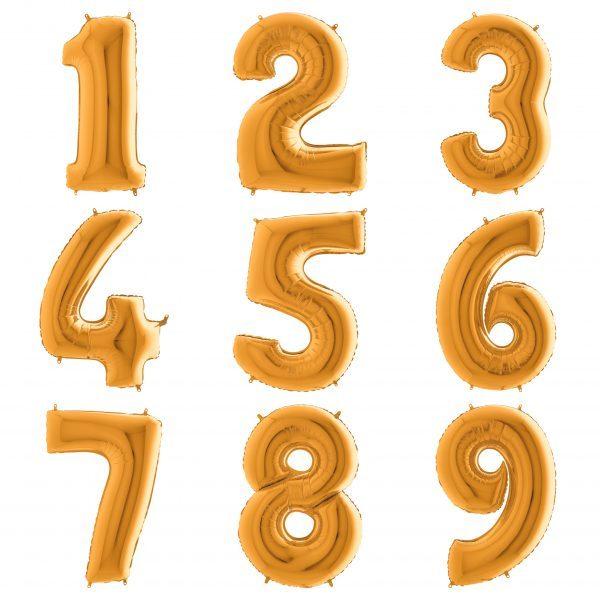 Золотые цифры 102 см с гелием