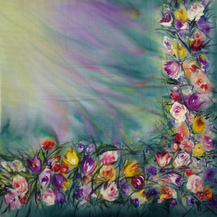 Шерстяной платок батик Цветы в бирюзе C-77-sh