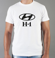 Футболка с принтом Хендай H-1 (Hyundai H-1) белая 009