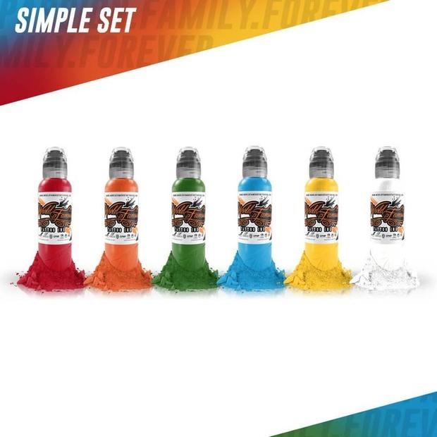 Набор красок для тату Simple Color Set - 6 шт по 1 унции - 30 мл от World Famous