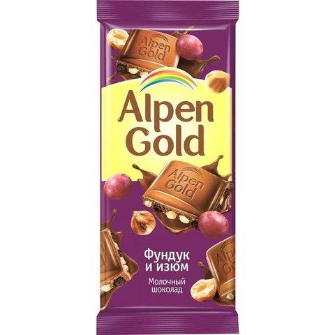 """Шоколад """"Alpen Gold"""" с фундуком и изюмом, 90 г"""