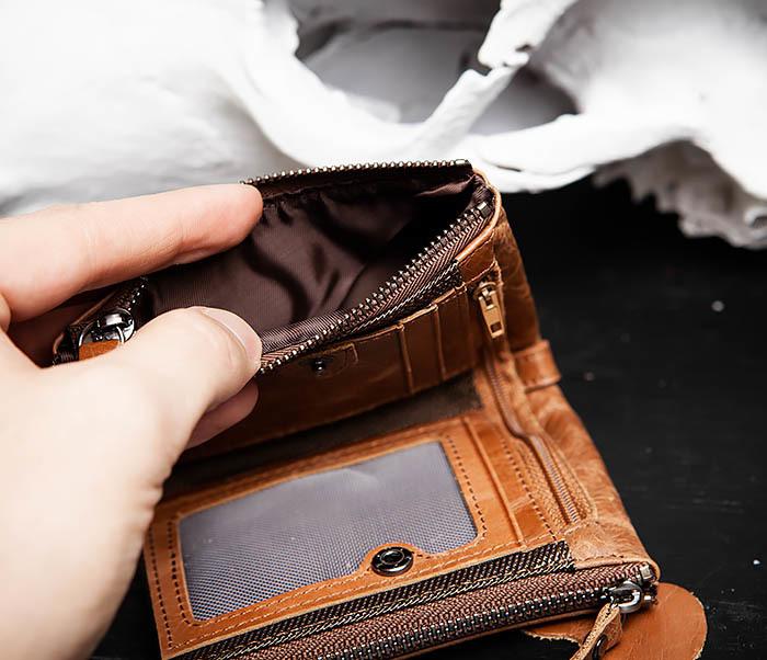 WL250-2 Винтажный мужской кошелек с монетницей на молнии фото 07