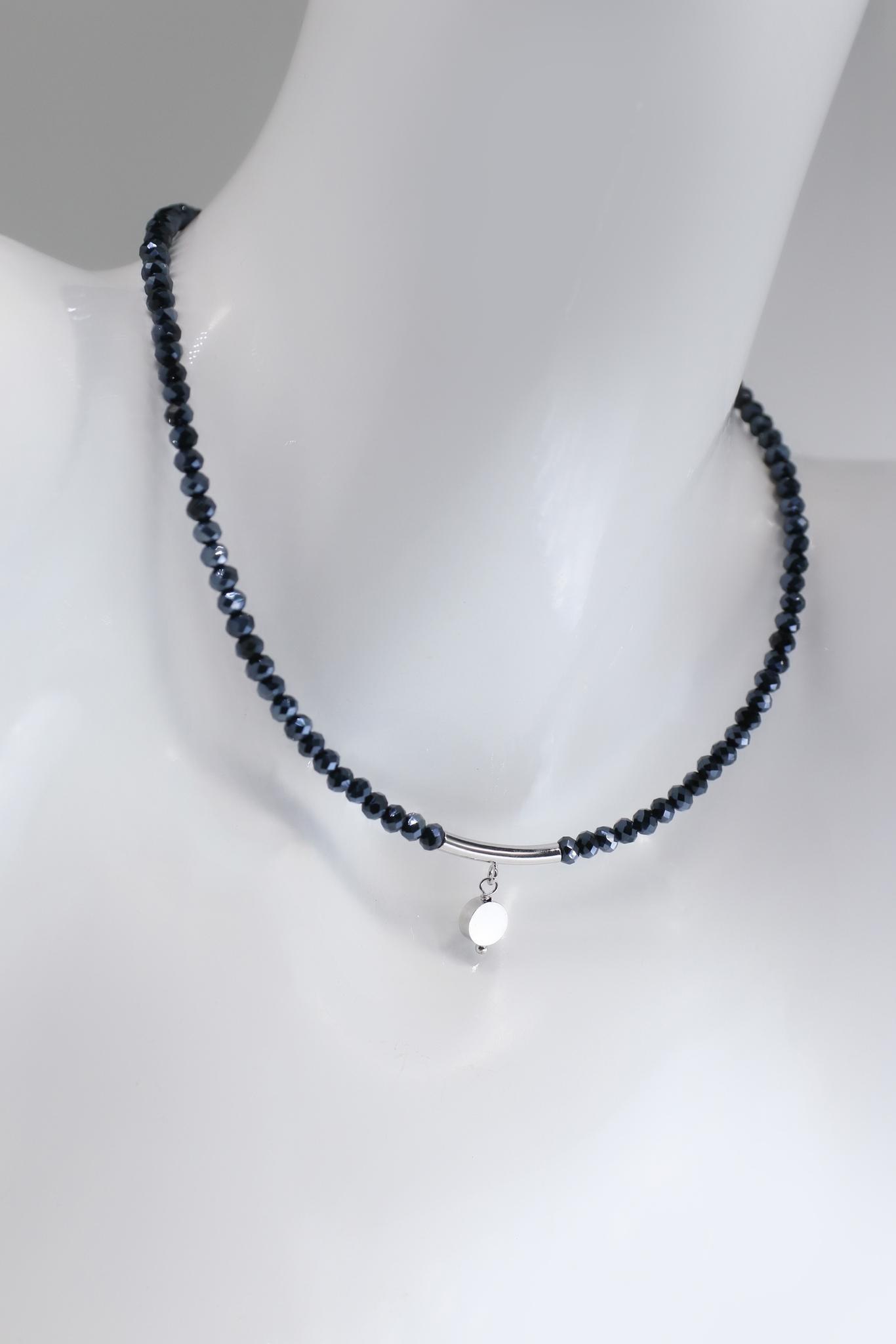 Колье-чокер из темно-синего хрусталя (4 мм)  оптом и в розницу