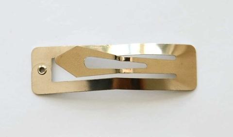 Основа-заколка для волос «Клик-клак» прямоугольная, 60х17мм, золотая.В 1уп-2шт (3036)