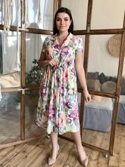 Віола. Оригінальний літній сарафан великих розмірів. Бузкові квіти