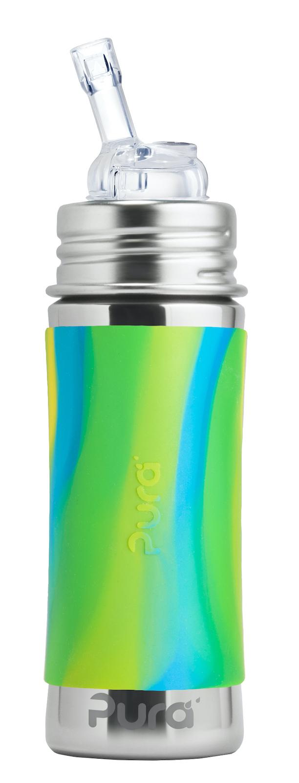Детская стальная бутылочка с трубочкой Pura Kiki 325 ml (зеленый вихрь)