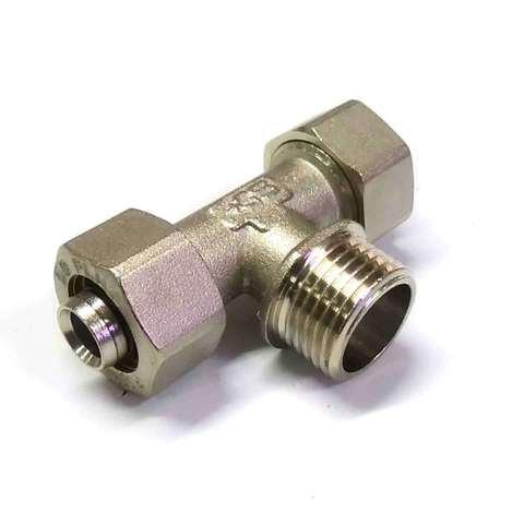 Тройник обжимной для металлопластиковых труб  16 * 1/2 * 16 наружная резьба SD Plus