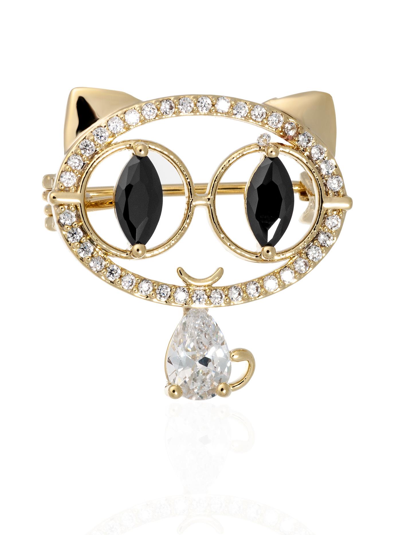 Мини-брошь Кошка с фианитами и кристаллами в подарочной коробке, подарок подруге