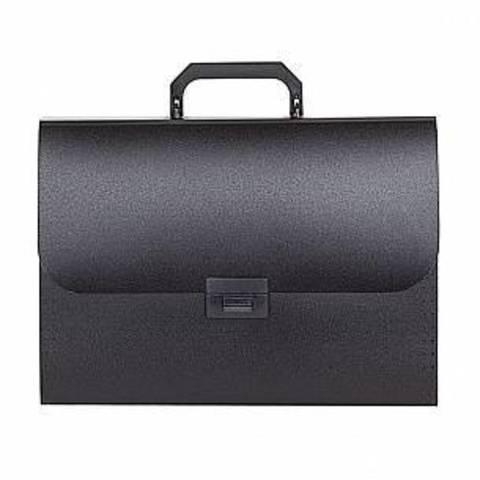 Портфель inФОРМАТ А4 черный пластик 700 мкм оторочка ручка 13 отд. замок