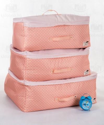 Мягкий средний кофр для одежды, M, 56*32*24 см (розовый в горошек)