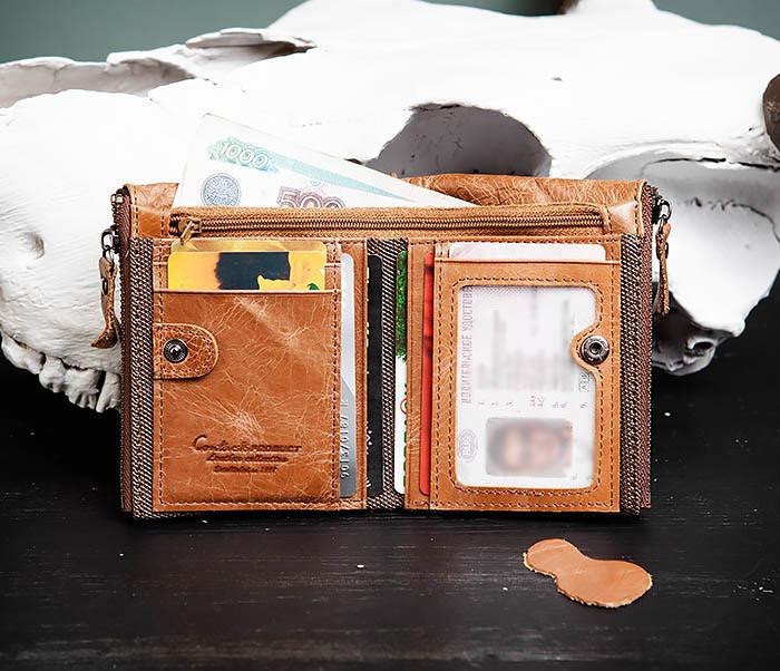 WL250-2 Винтажный мужской кошелек с монетницей на молнии фото 08