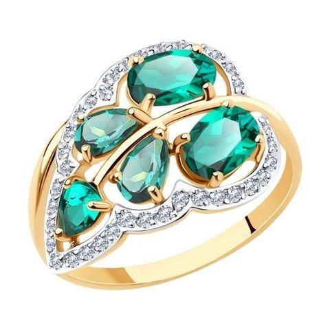 716463 - Кольцо из золота  с изумрудами и фианитами