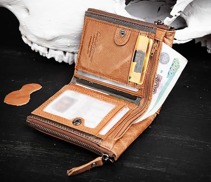WL250-2 Винтажный мужской кошелек с монетницей на молнии фото 09