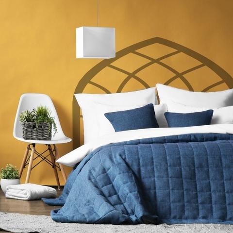 Комплект штор и покрывало рогожка Джулия синий 7 предметов