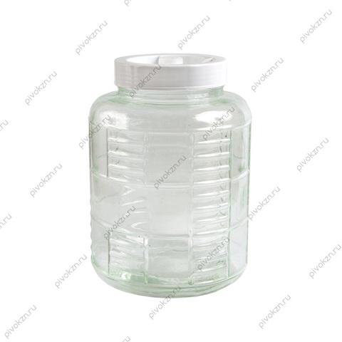 Банка 15 литров с гидрозатвором (белая крышка)