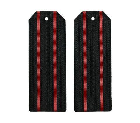 Погоны черные МП с 2 красными просветами (пог. лента,на пластике)
