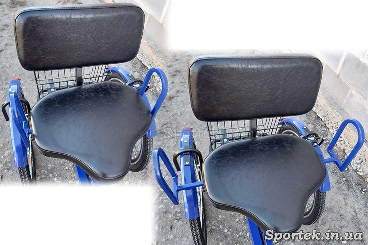 Раздвижные ручки на кресле трехколесного велосипеда 'Атлет'