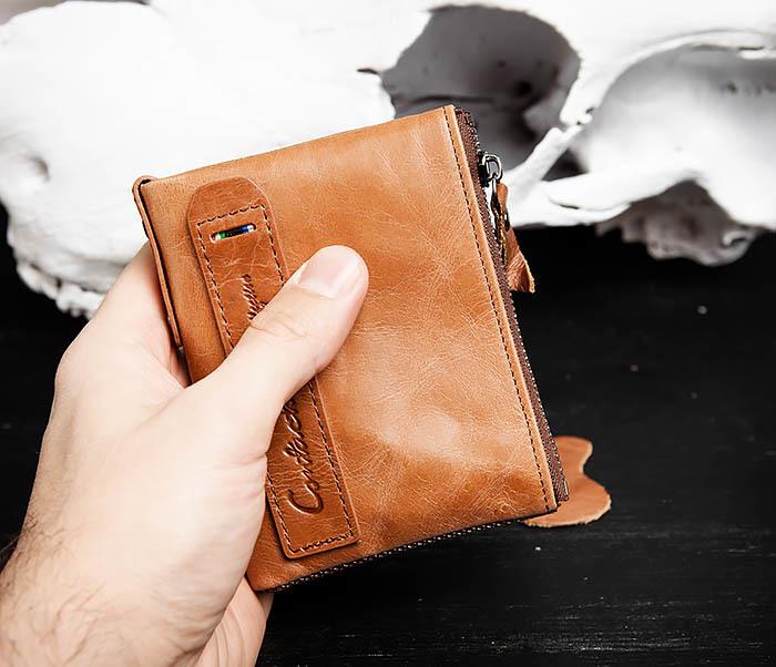 WL250-2 Винтажный мужской кошелек с монетницей на молнии фото 10