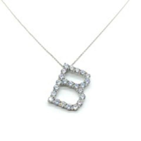 Подвеска из серебра буква B с цирконами бриллиантовой огранки