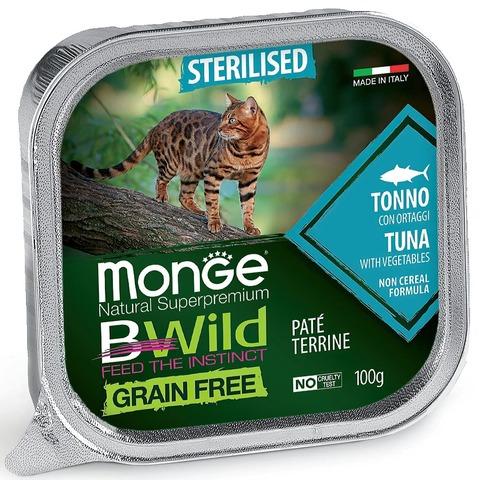 Monge Cat BWild Grain Free Консервы для стерилизованных кошек из тунца с овощами, беззерновые (ламистер)