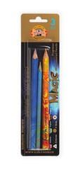 Набор многоцветных карандашей MAGIC: 2 утолщенных и 1 цельнографитный карандаш без деревянного корпуса, покрытый для удобства использования лаком, упаковка - блистер.