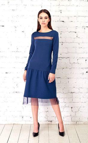 Фото синее платье с заниженной талией со вставкой на линии декольте из сеточки - Платье З333-677 (1)
