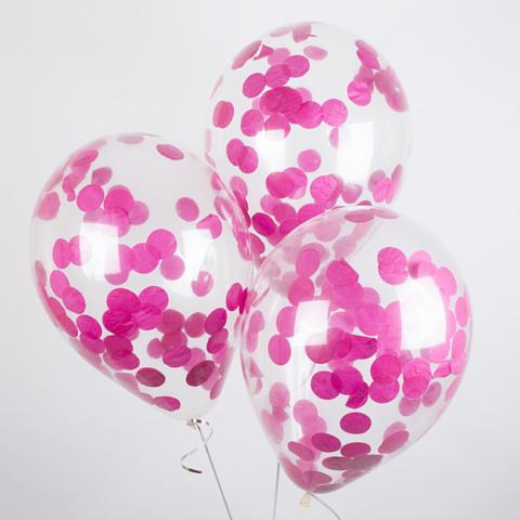 Воздушные шары с розовым конфетти