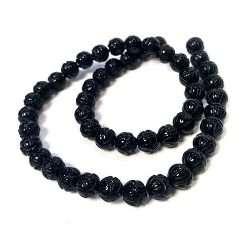Бусины агат черный шар 8 мм фигурная огранка Лотос 24 бусины