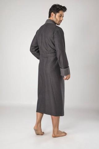 Бамбуковый  мужской вафельный халат 15120-1 хаки-черный  NUSA Турция