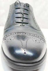 Закрытые туфли на шнуровке мужские Ikoc 3805-4 Ash Blue Leather.