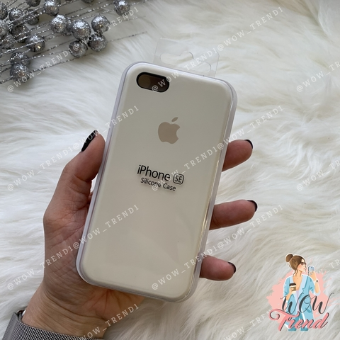 Чехол iPhone 5/5s/SE Silicone Case /antique white/ молочный 1:1