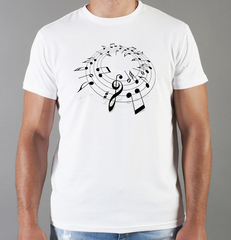 Футболка с принтом Ноты (с нотами, скрипичный ключ) белая 0014