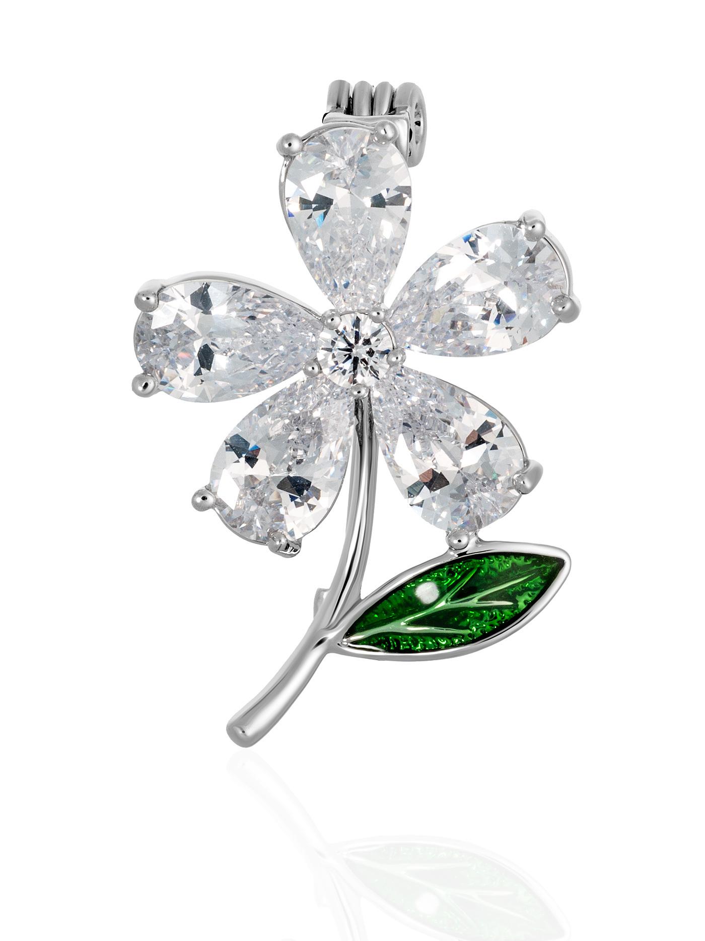 Мини-брошь Цветок с кристаллами, подарок девушке