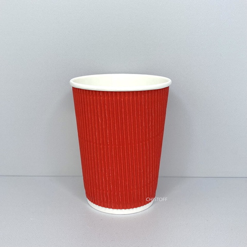 Стакан бумажный гофрированный 350 мл красный d90 (30 шт.)