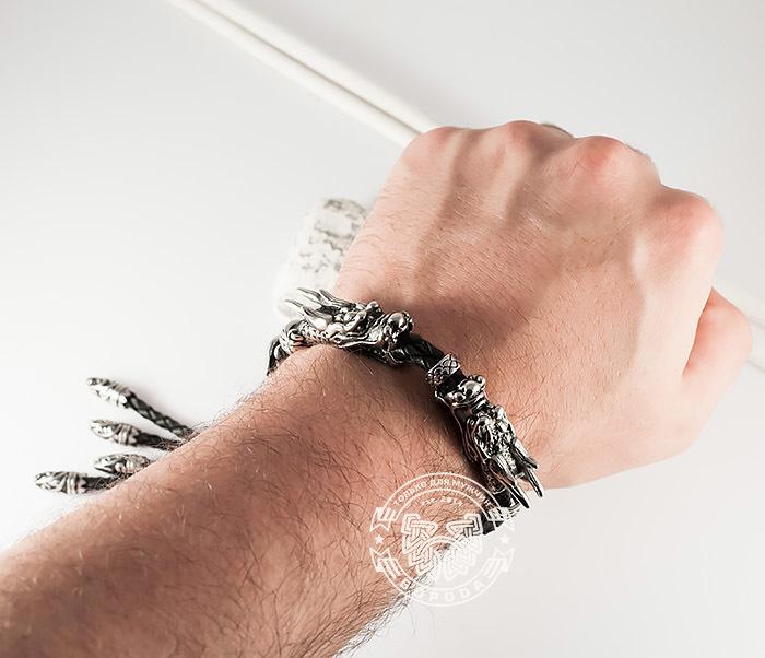 BM366 Необычный мужской браслет «Драконы» из стали и кожи фото 05