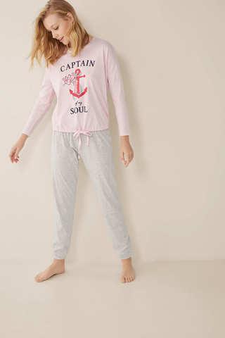 Довга піжама з принтом «Рожева пантера» і «Якоря»