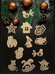"""Новогодний набор елочных игрушек """"Лесная сказка"""" из фанеры,  12 шт. неокрашенные"""