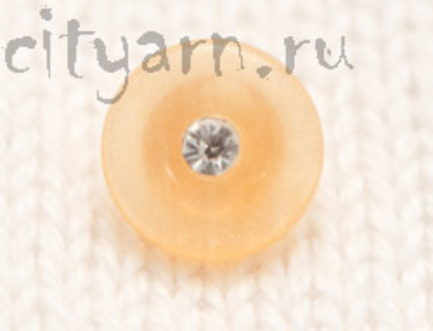 Пуговица маленькая, на ножке, со стразом, персиково-жёлтая, диаметр 10 мм