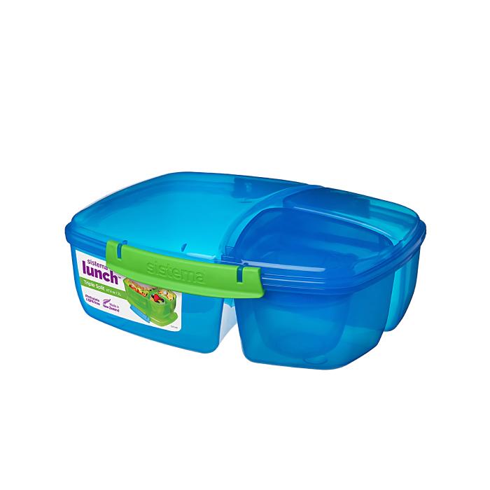 """Ланч-бокс с баночкой Sistema """"Lunch"""": 3 секции, 2 л, цвет Голубой"""