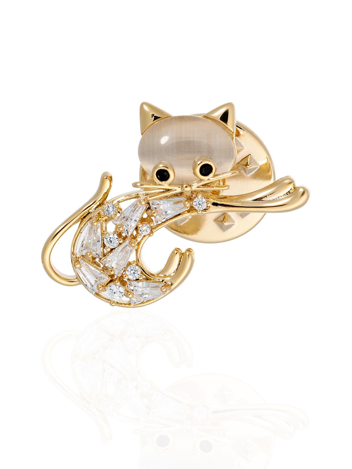 Мини-брошь-значок Кошка с фианитами в подарочной коробке, подарок подруге
