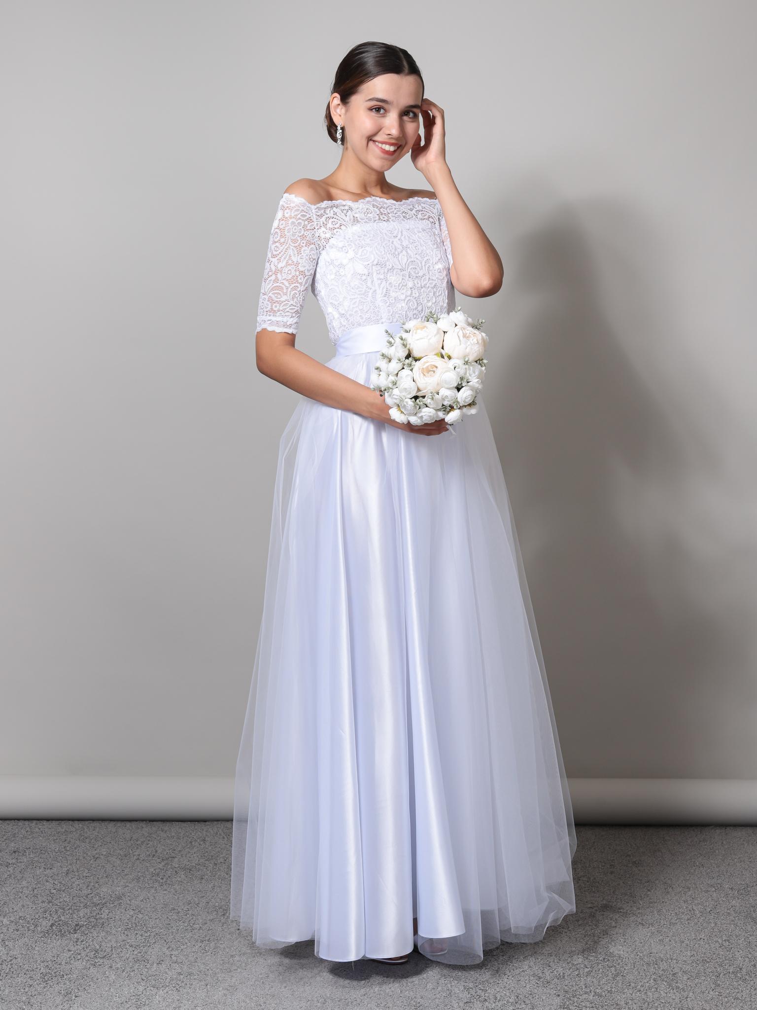 Свадебное платье с открытыми плечами макси (белый)