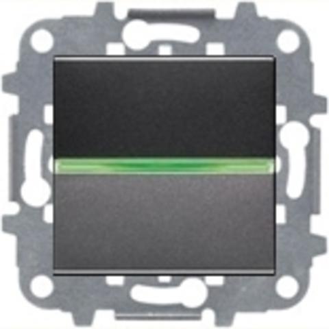 Переключатель промежуточный одноклавишный c подсветкой. Цвет Антрацит. ABB Niessen Zenit. N2210 AN+N2271.9+N2192 RJ