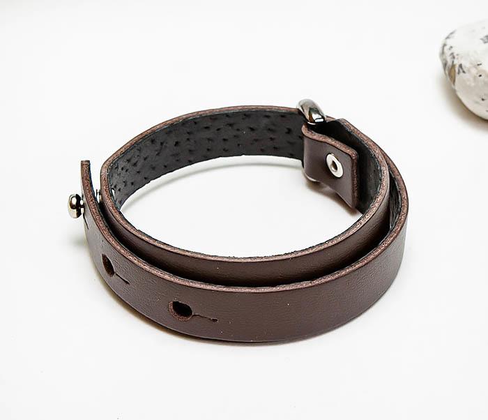 BL805-2 Мужской браслет ручной работы из коричневой кожи фото 03